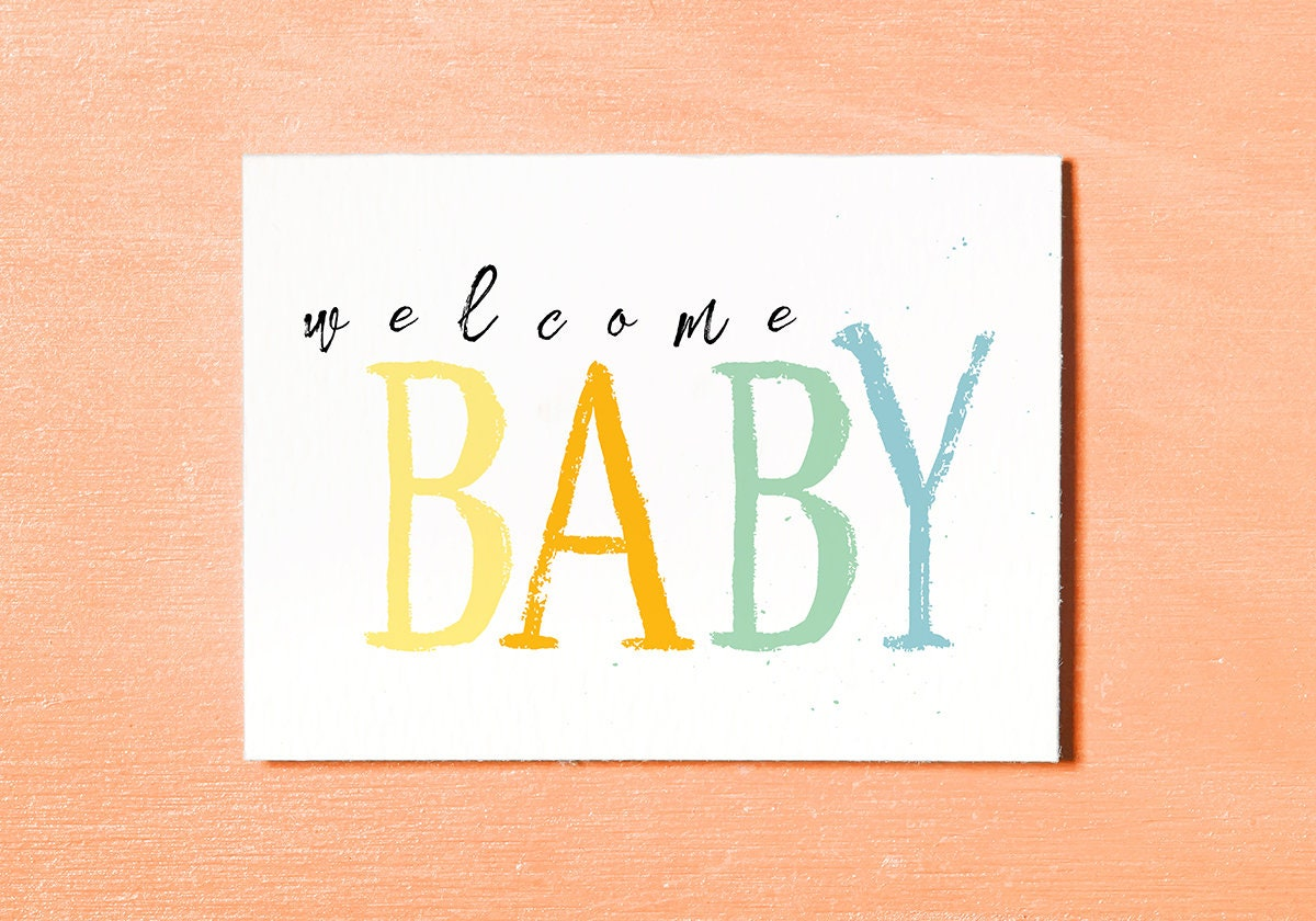 welcome baby card new baby card baby girl baby boy instant