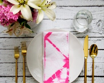 Pink Shibori dyed Cloth Napkins, Dinner Party, Anthropologie Inspired, Brunch Tablescape