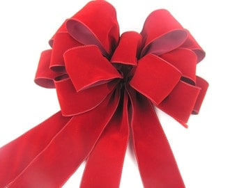 Berry Red Velvet Valentines Wreath or Gift Bow
