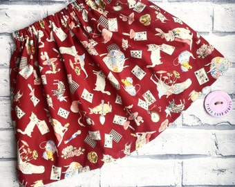 Alice in wonderland skirt/handmade girls skirt/vintage style skirt/alice in wonderland clothes/red skirt/baby girls skirt/flamingo skirt