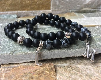 Partner bracelets letters name bracelet set him and Onyx Obsidian 8mm long distance relationship