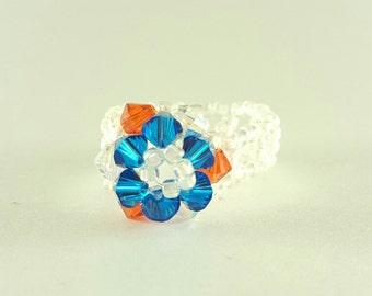 Flower beaded ring