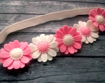 Felt Daisy headband, pink flower headband, flower girl headband for girls, white pink headband, toddler headband, wool felt flower headband