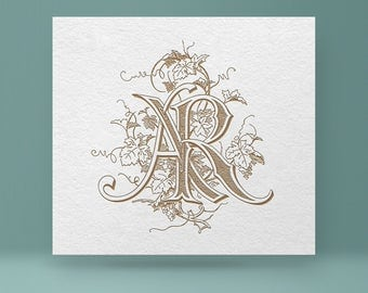 Vintage monogram AR - RA | Wedding Monogram