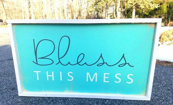 """Large Mint Colored Framed """"Bless This Mess"""" Sign. Perfect unique gift for Mom!"""