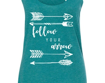 Follow Your Arrow Triblend Racerback Tank - Free Shipping - Boho Arrow, Gypsy Soul, Wanderlust, Gypsy Spirit, Gypsy Arrow