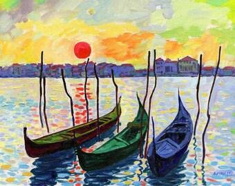 Print of Oil LANDSCAPE, gondola landscape, Venice landscape, italian landscape print, gondola print landscape, oil painting print, art print