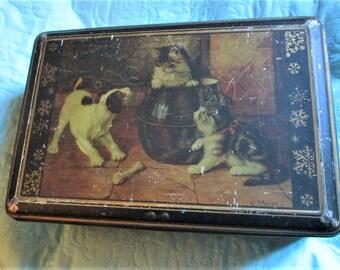 Vintage German Tin, art nouveau tin, metal boxes, dog collectors, cat collectors, large tin boxes, E. Meier art, animal tin art,