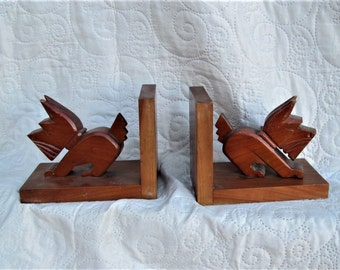 Vintage French Bookends, scotty dogs, book organizers, antique wood items, dog collectors, animal collectibles, scotty collectors