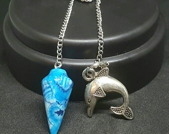 Pendulum Blue Howlite and Dolphin