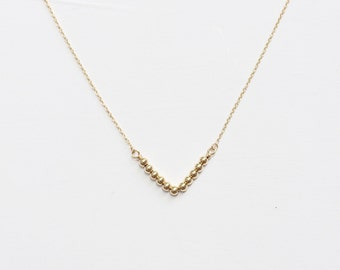 V shaped Necklace,Gold Ball Necklace,Gold filled Necklace,14K gold filled, Dainty Chain