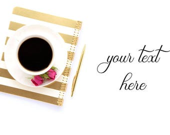 Styled stock photography (desk scene - gold&coffee) - for blogs/businesses