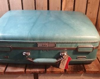 Vintage American Tourister Luggage/Vintage Suitcase/Blue Suitcase/Shell Suitcase/Old Suitcase/Travel Case/Vintage Travel Box/Suitcases/Lugga