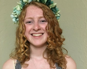 Elegant Teal and Light Green Flower Crown - Green and Teal Flower Crown - Green and Blue Floral Headband