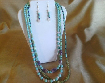 124 Awesome Three Strand Beaded Necklace, Magnesite Turquoise, Natural Amethyst, Rose Quartz Beads, and Lapis Lazuli Beads, Various Shapes