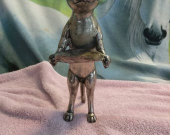 Antique Silver Indonesia Cat Sculpture with Tray