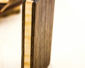 Wooden business card case, walnut and curly maple