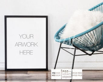 Big Black Frame Mockup / PSD Smart Object / Neutral Background Black Frame / Stock Photography / Acapulco Chair / Cozy / Minimalist Style