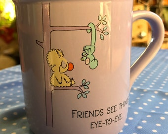 Vintage Hallmark Friendship Mug 80s Gift Koala Lemur Lavender Collectible