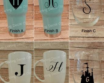 Single Initial Custom Monogram Adhesive Decal DIY Glass Tumbler Mug Cup Circle Castle Scrip Heart Men's Women's Kids Bridal Party Groomsmen