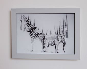 Got your back - Elephant and giraffe graphite drawing, this is an print of the original pencil drawing. Gift, birthday, wedding.