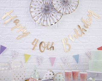 Gold Happy 40th Birthday Bunting | 40th Birthday Party Decorations