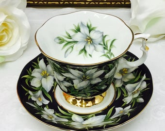 """Royal Albert Provincial Flowers """"Madonna Lily"""" teacup and saucer."""