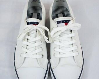 Vintage Tommy Hilfiger Canvas Deck Shoes Size Womens US 10 Mens US 9 Big Flag Gum Rubber Soles Toe Cap