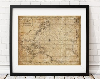 North Atlantic Ocean Nautical Map Print, Vintage Map Art, Antique Map, Wall Art, History Gift, North Atlantic Ocean Map, Sea Map, Old Map,