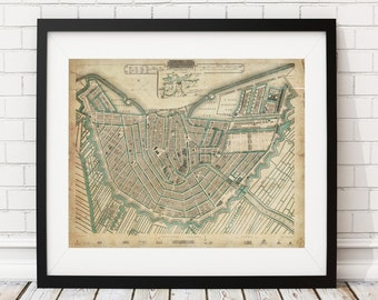 Amsterdam Map Print, Vintage Map Art, Antique Map, Wall Art, History Gift, Old Maps, Netherlands Map, Amsterdam Art, Amsterdam Print