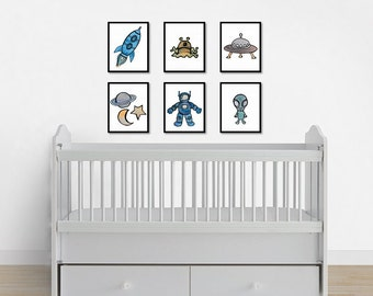 Space Print Set, Nursery Prints, Printable Nursery Art, Instant Digital Download, Nursery Decor, Playroom Prints, Boy Decor, Boy Wall Art