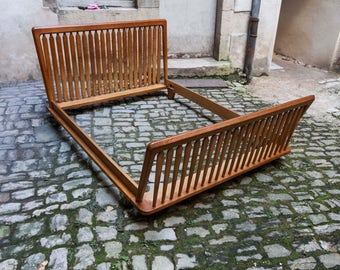 Guillerme and Chambron 1960 waxed oak bed frame