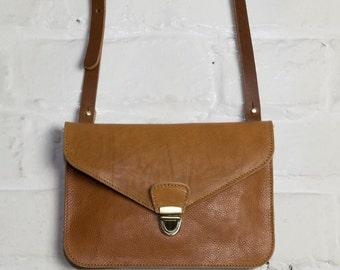 Leather Clutch Bag in Tan Kangaroo Print