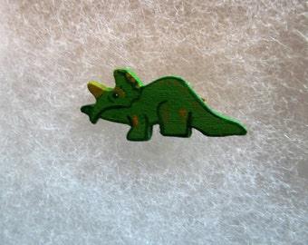Dinosaur Jewelry Pin - handcarved and handpainted