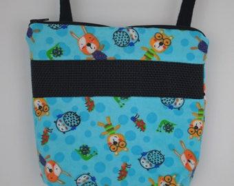 Sugar Glider Bonding Pouch, baby hedgehog bonding bag, small exotic nesting supplies, zipper bag, snuggle sack, Blue Hedgehog Flannel