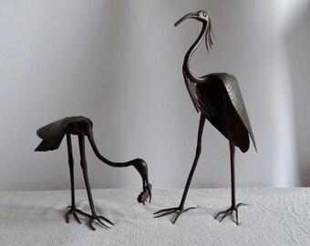 Pair of vintage bird sculptures  hand made ironwork circa 1930