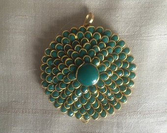 Green Pacchi Kari Indian Pendant, Jaipur Jewellery Layered Charm, Ethnic Rajasthan Pendant, Jewellery Supply 5 cm Dia, Price per pc