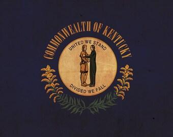 Vintage Kentucky Flag on Canvas, Flag, Wall Art, Kentucky Photo, Kentucky Print,  Fine Art, Bluegrass Flag, Single or Multiple Panels