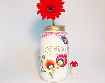 Colourful Folklore Jar• painted jar • decorative jar • wedding • christening• birthday