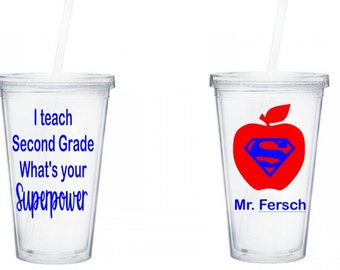 I teach second grade What's your Superpower Tumbler, I teach what's your Superpower, Teacher gift, Superpower Tumbler, 16 oz Acrylic Tumbler