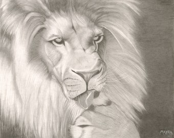 Digital Lion Print