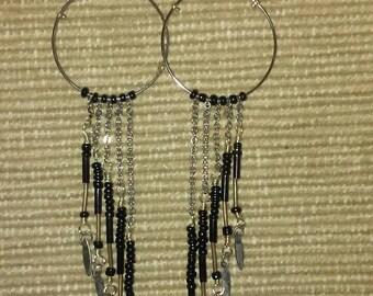 Silver Hoop Earrings with Black Seed Bead Fringe