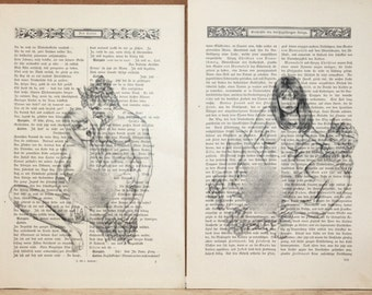 Erotic nude girls mens print poster vintage antique books set 2 pages decor interior picture ART erotic