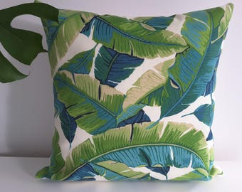 """Pillow"" banana leaf Turquoise """