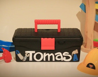 Personalized Kid's Toolbox/Caddy - Boy's Custom Hand Painted Sturdy Play Toolbox/Caddy with Name