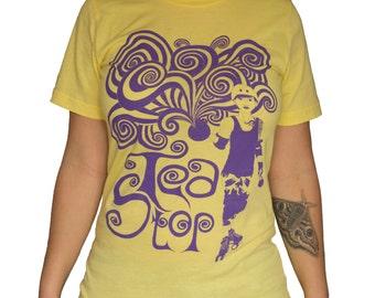 Tea Stop roller derby T-shirt - Yellow