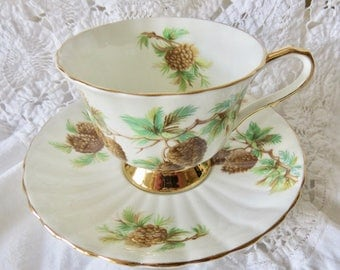 Clarence Bone China Footed Teacup and Saucer Pine Cones Pattern