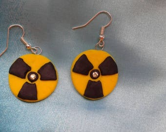 SALE of old stock! Radioactive symbol  earrings -bhandmade fimo earrings, polymer clay