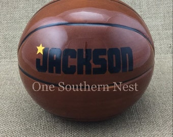 Personalized basketball sports Piggy Bank.  The perfect gift for any age basketball fan! Fill with coins or bills for a creative cash gift.