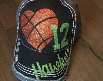 Basketball Bling Hat, Custom sports Mom, Basketball Mom Hat, Custom Hat, Distressed Baseball Hat, Distressed Sports Mom Hat, Sports Mom